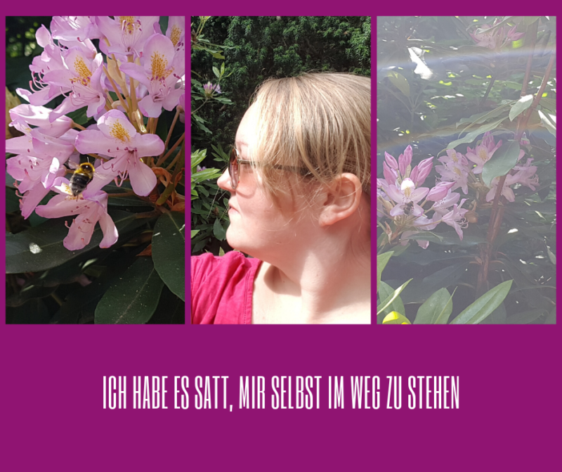 Woman in garden, flowers, bumble bee